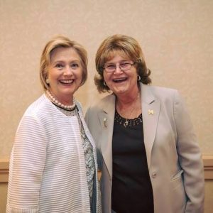Hillary Clinton with delegate Babs Siperstein.