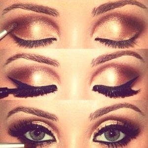 smokey gold eye makeup 1