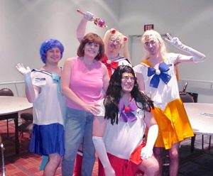 Diane with some of her gaming friends.
