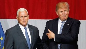 Pence (L) with Trump.