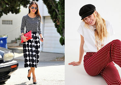 large and small polka dots and red polka dot pants