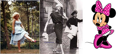 Marilyn Momroe and Minnie Mouse in polka dots and the Dior look in polka dots